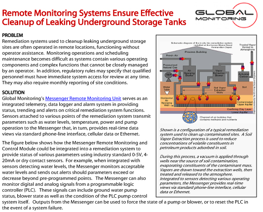 Remote Monitoring Systems Ensure Effective Cleanup of Leaking Underground Storage Tanks