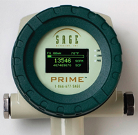 Sage Prime industrial thermal mass flowmeter monitors the flow rate and consumption of existing natural gas lines in industry.