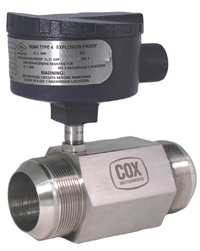 Cox 4080 extended range fluid compensation flowmeter interface provides total flow compensation to enhance flowmeter accuracy, while extending the linear flow range.