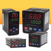 SOLO process/temperature controllers are available in four standard DIN sizes and come with a dual fourdigit,seven-segment display.